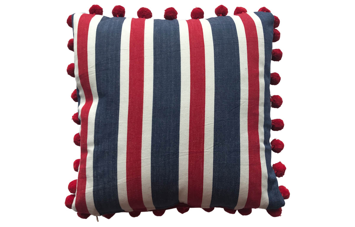 Navy blue, Red and White Striped Pompom Cushions 50x50cm