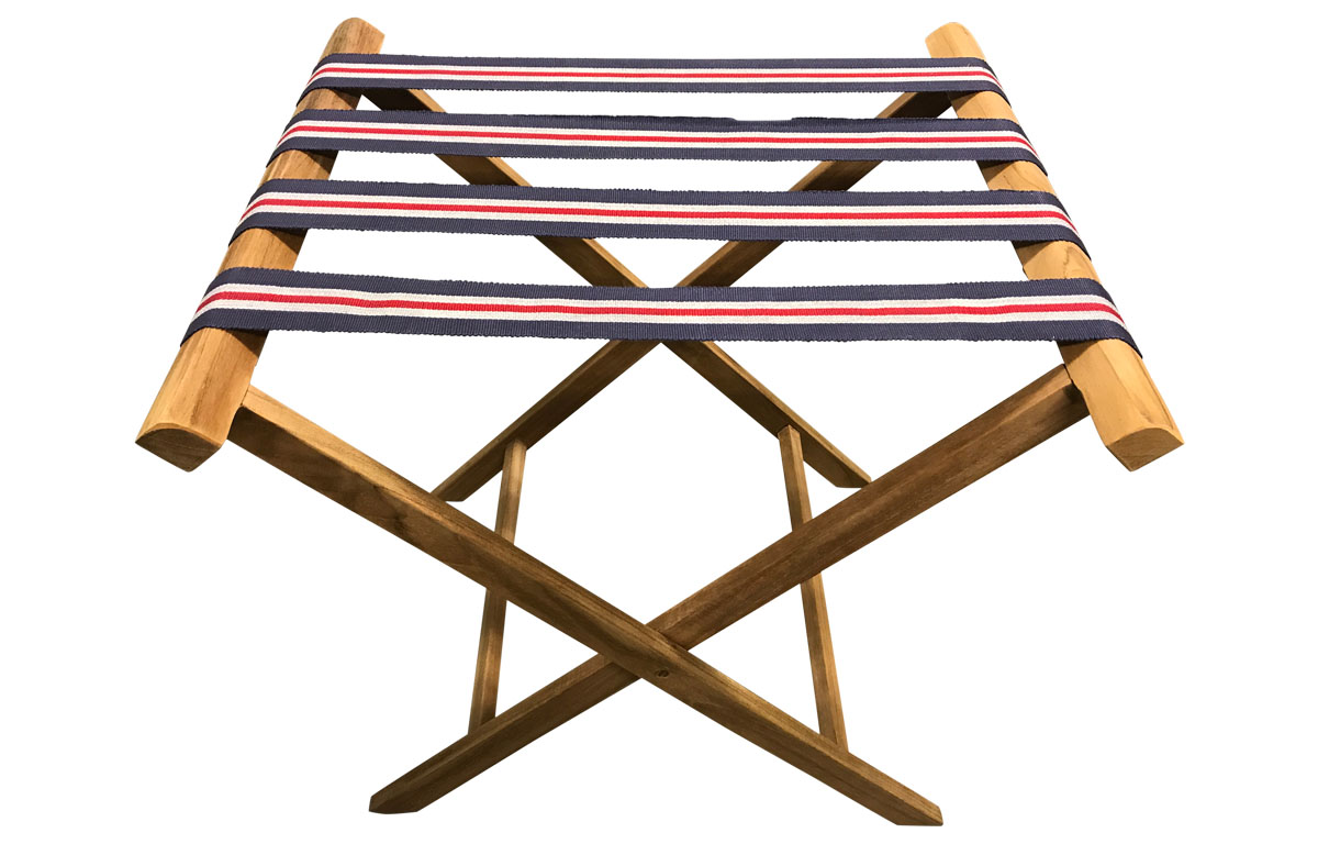 Folding Luggage Rack with Blue, Red and White Striped Webbing