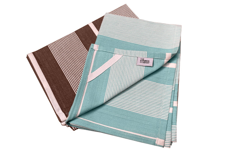 Brown And Aqua Striped Tea Towel Sets | Set of 2 Tea Towels