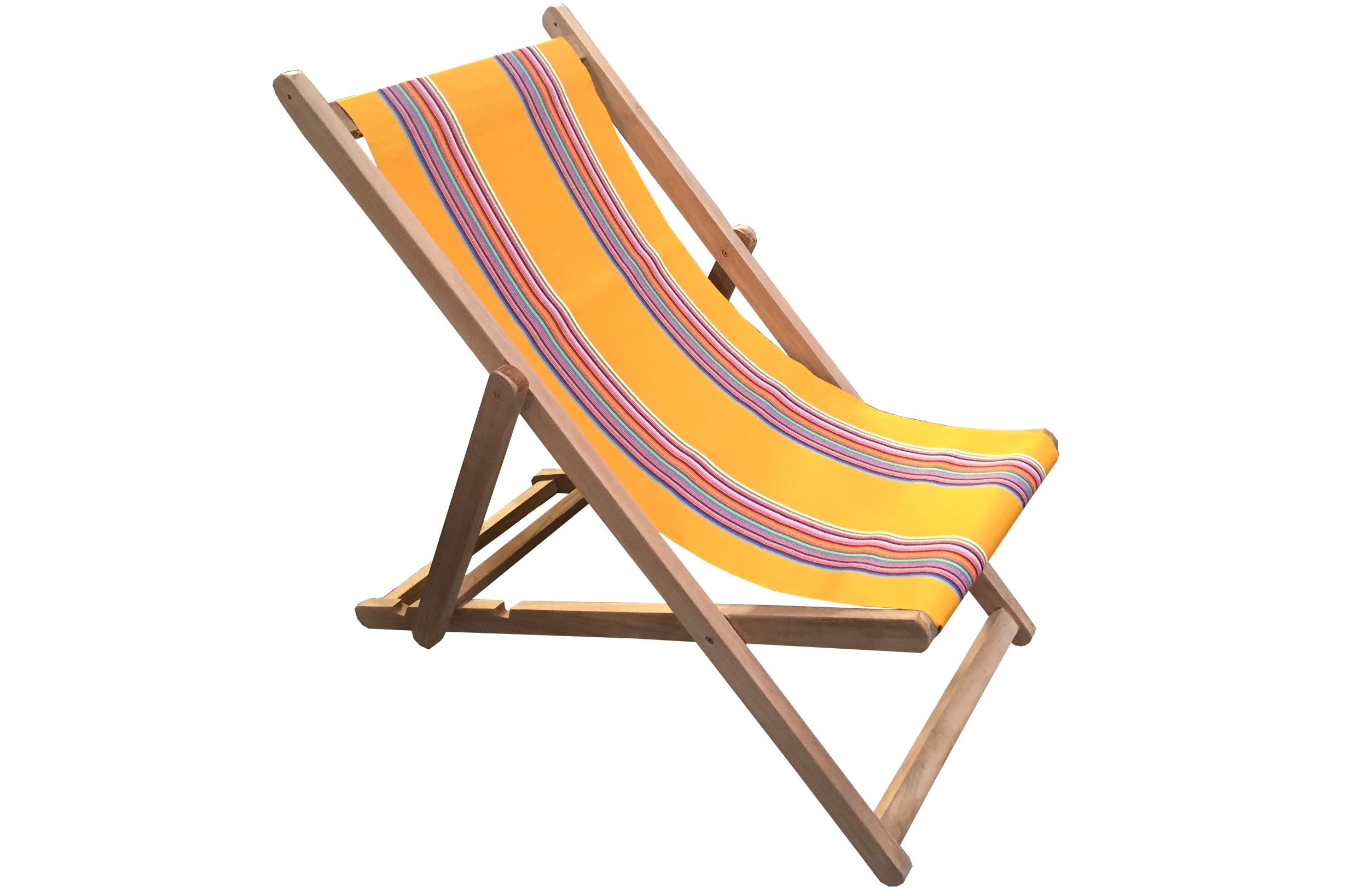 Yellow Deckchairs | Wooden Folding Deckchairs Butterfly Stripe