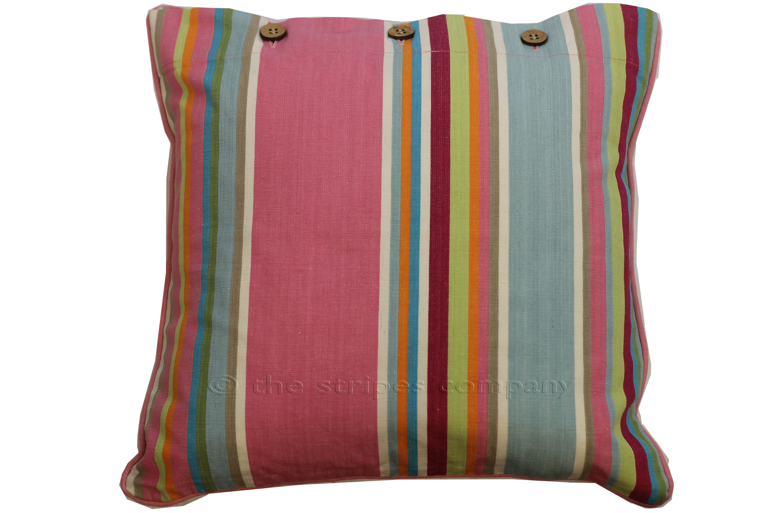 Striped Button Cushions | Piped Buttoned Cushions  Pink, Grey, Blue Stripes
