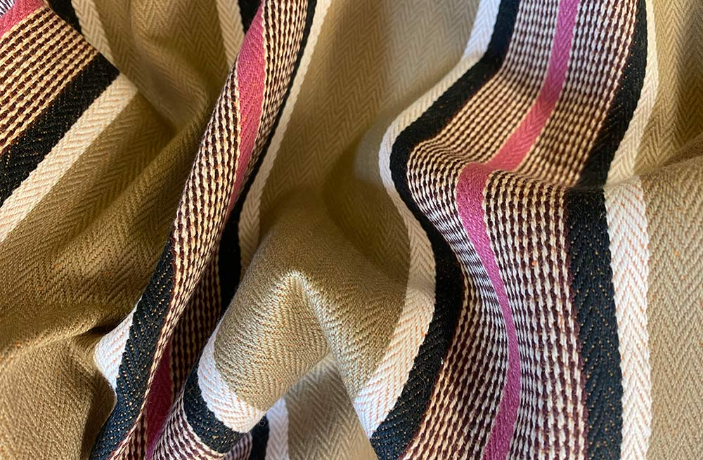 Ticking Fabric - Sand, black, pink and white stripes
