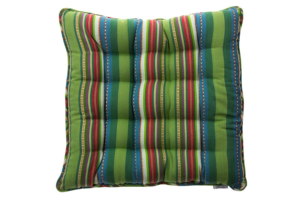 Pretty Green Striped Seat Pads with textured embroided look stripes