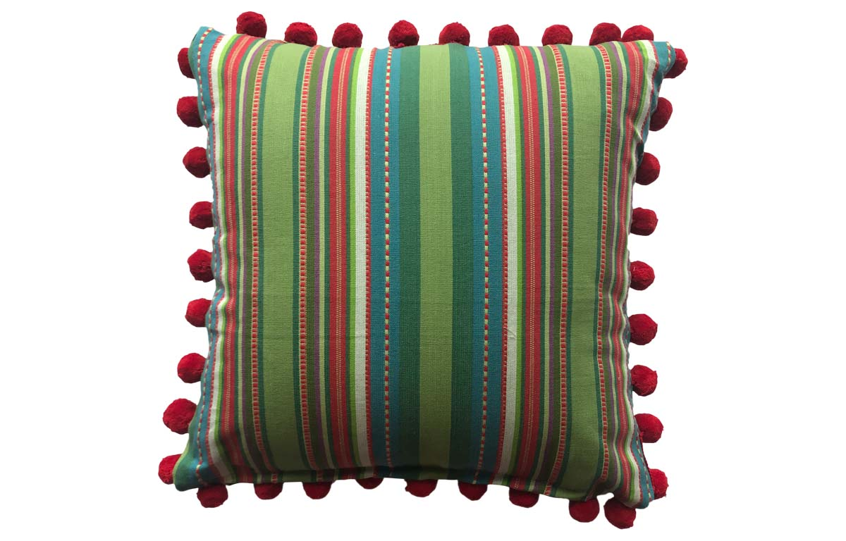 Pretty Green Striped Cushion with Red Pompom Trim 50x50cm