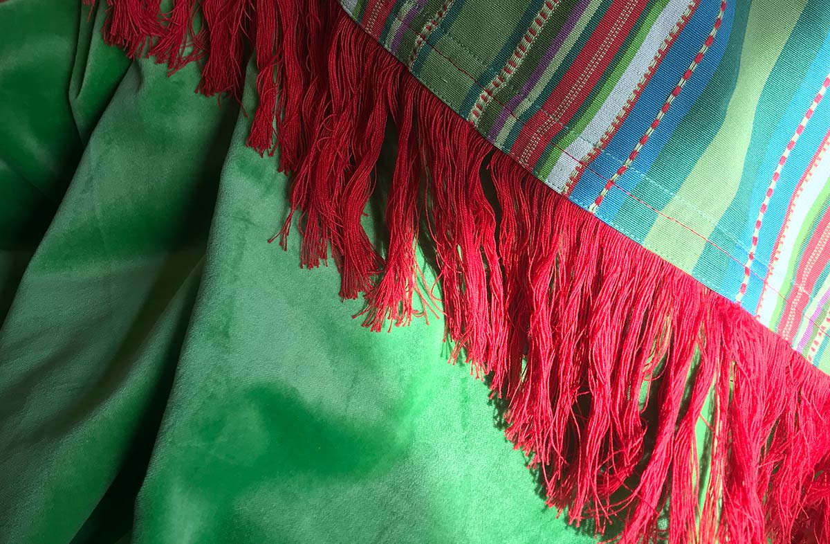 Green Velvet Throw with Green Striped Cotton on Reverse and Long Fringe