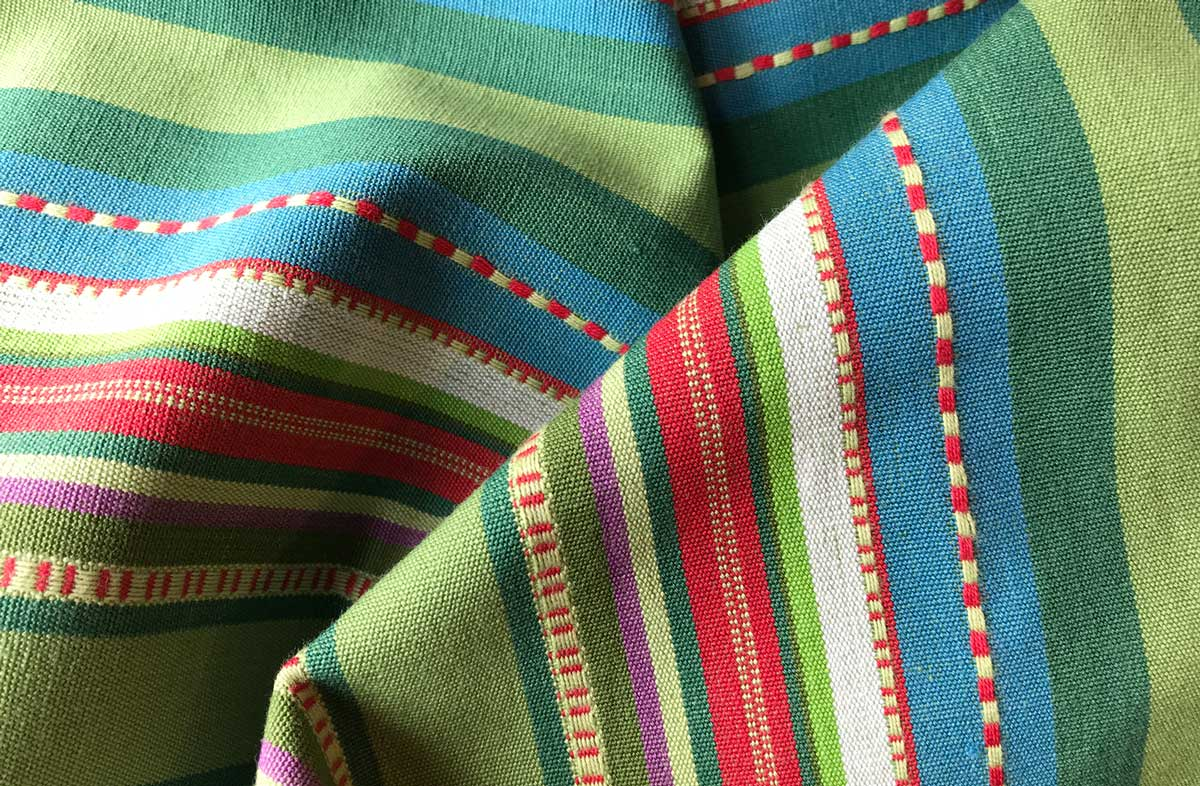 Pretty Green Stripe Fabric - Chequers Stripe