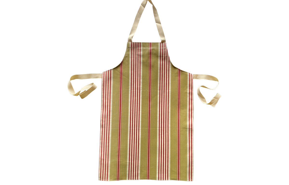 Olive Red White Stripe Oilcloth Aprons for Children