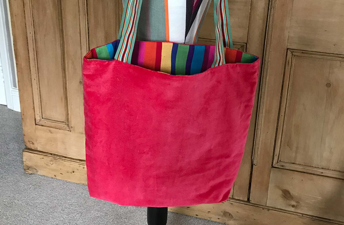 Coral Red Velvet Reversible Tote Bag