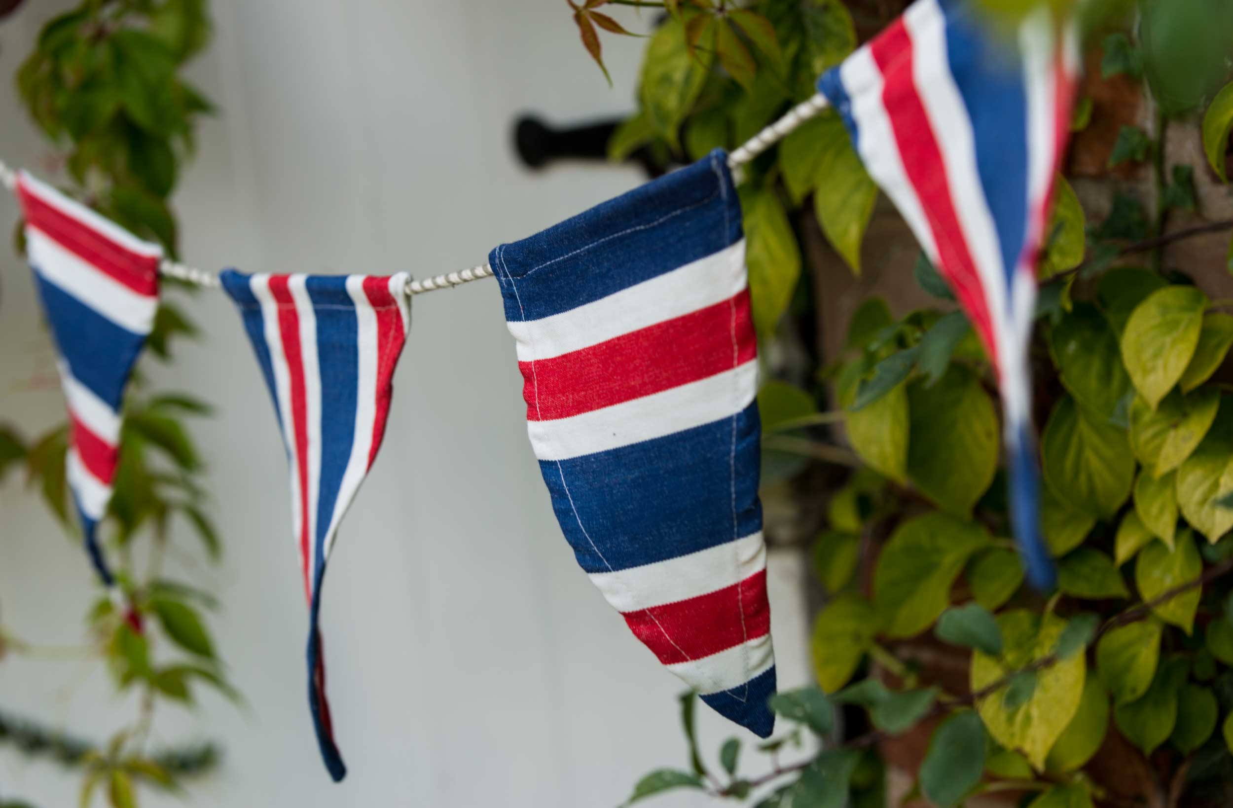 red, white, blue- Cotton Bunting