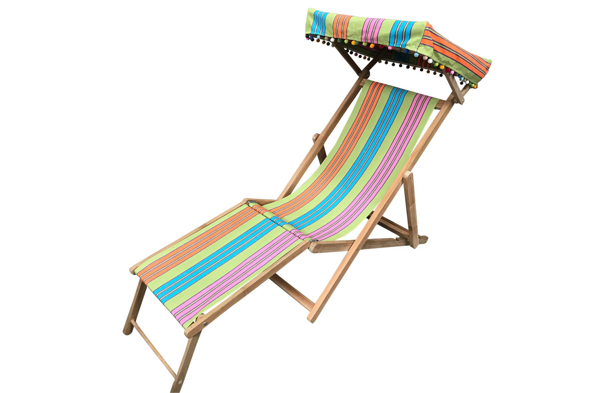 Cribbage Green Edwardian Deckchairs with Canopy and Footstool