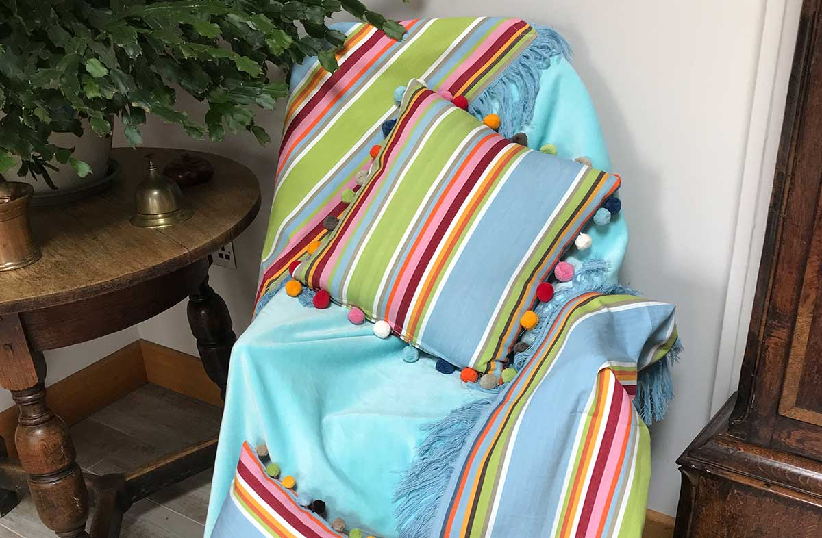 Reversible Aqua Velvet Fringed Cotton Throws with Striped Cotton reverse