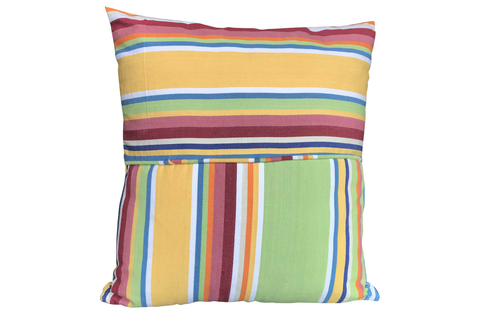 Striped Piped Cushions | Square Piped Cushions yellow, green, blue
