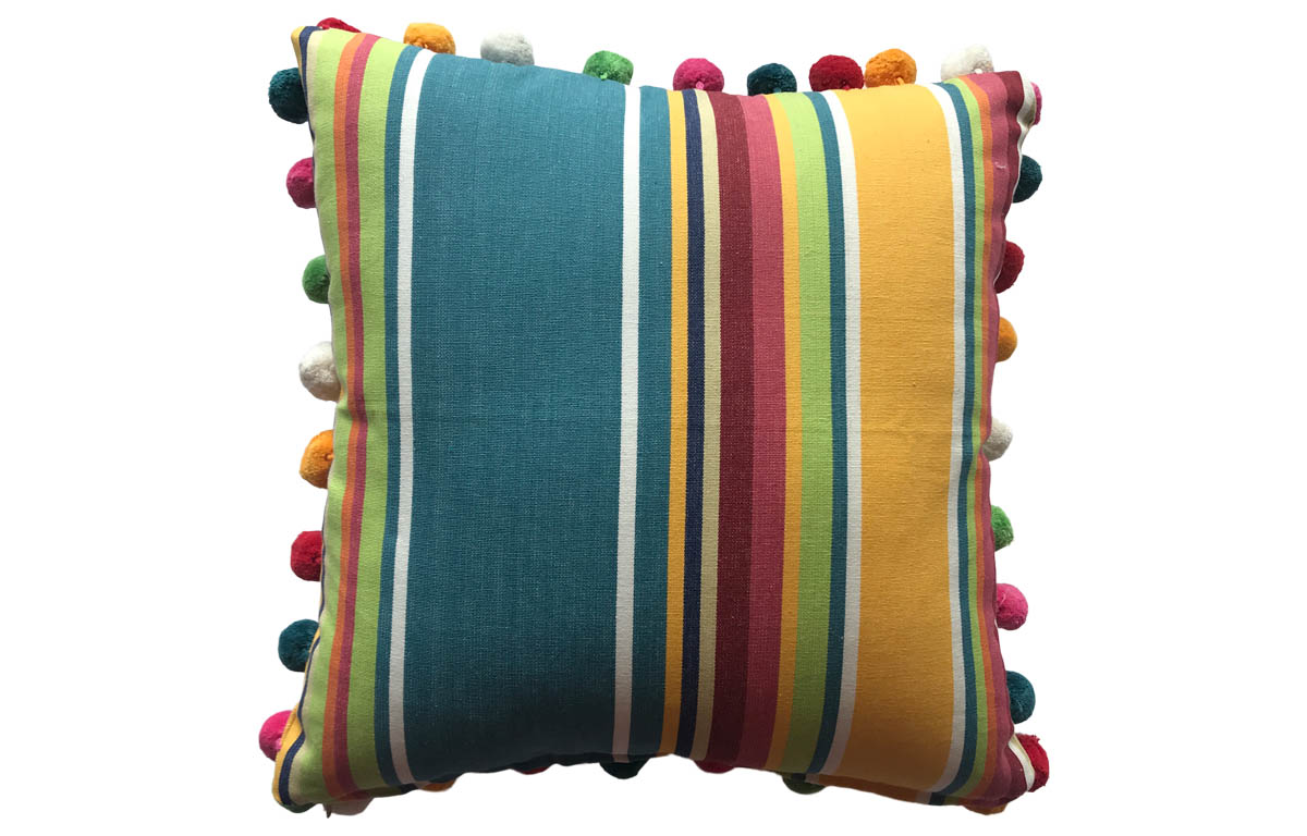 Yellow, Green and Blue Striped Pompom Cushion 50x50cm