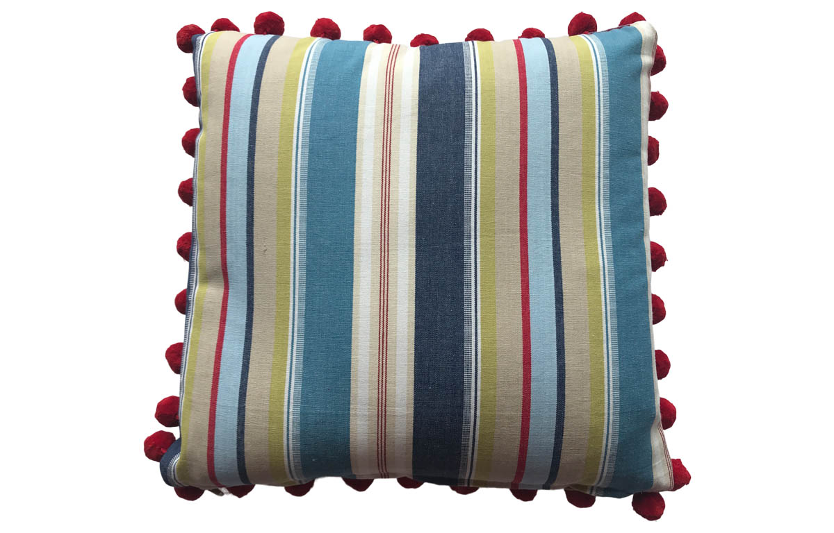 50x50cm Striped Pompom Cushions Airforce blue, cream, white