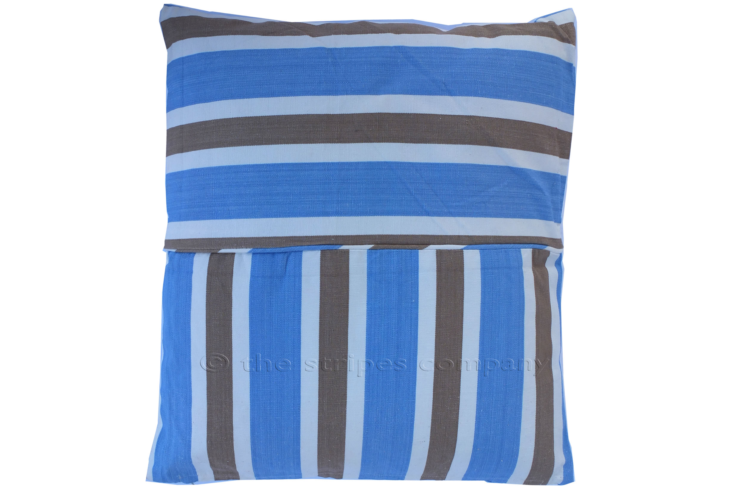 Striped Piped Cushions | Square Piped Cushions sky blue, beige, white