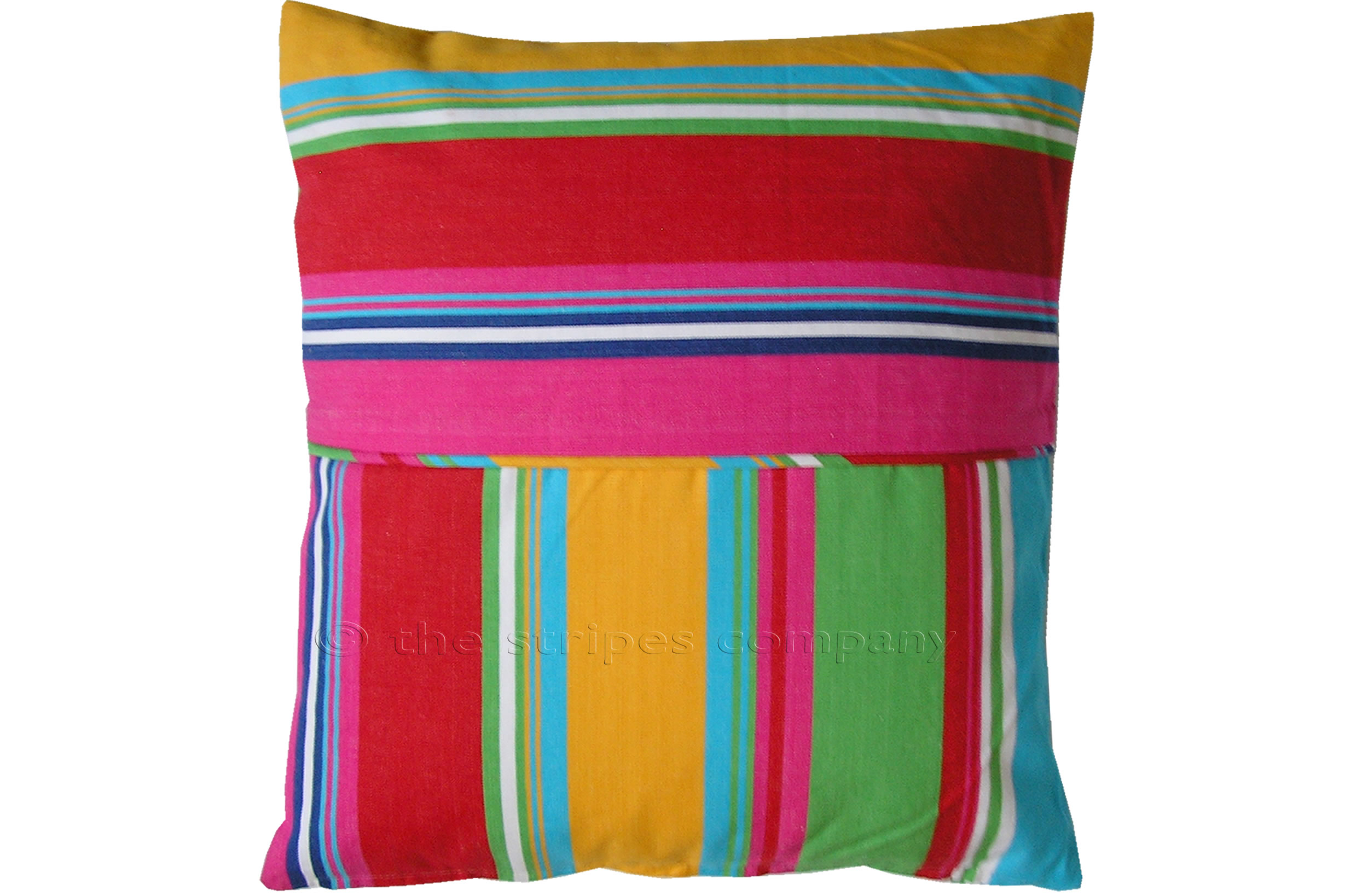 Pink Striped Piped Cushions | Square Piped Cushions Pink  Green  Yellow  Stripes