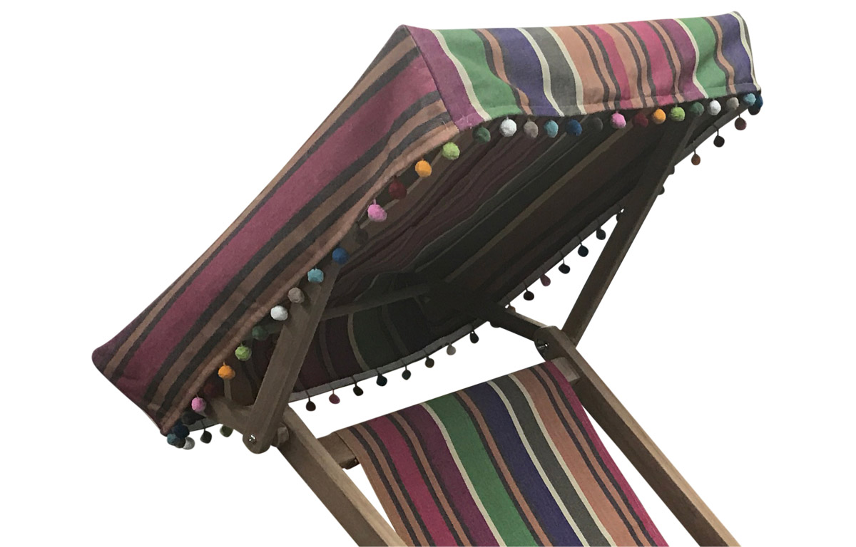 Edwardian Deckchair with Canopy and Footstool caramel, beige, purple