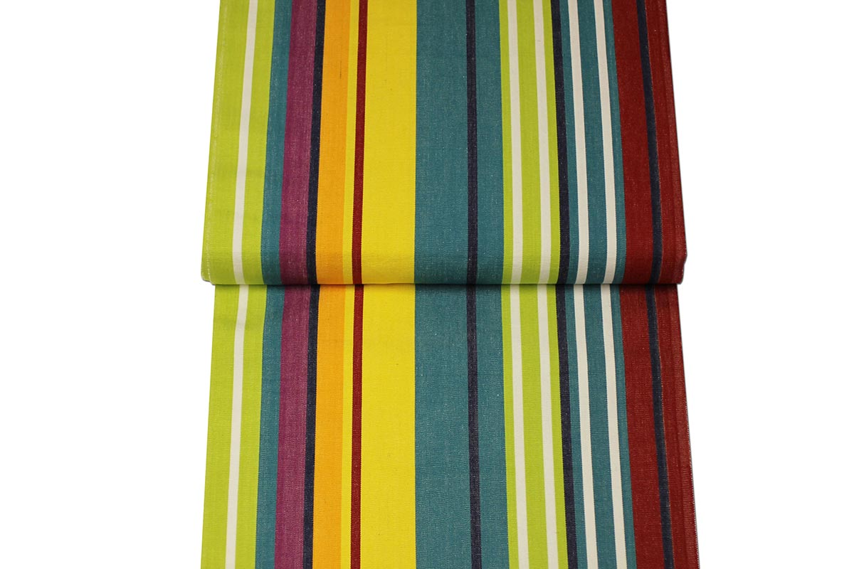 Striped Deckchair Canvas Fabric Strong Turquoise, Green, Red, Yellow