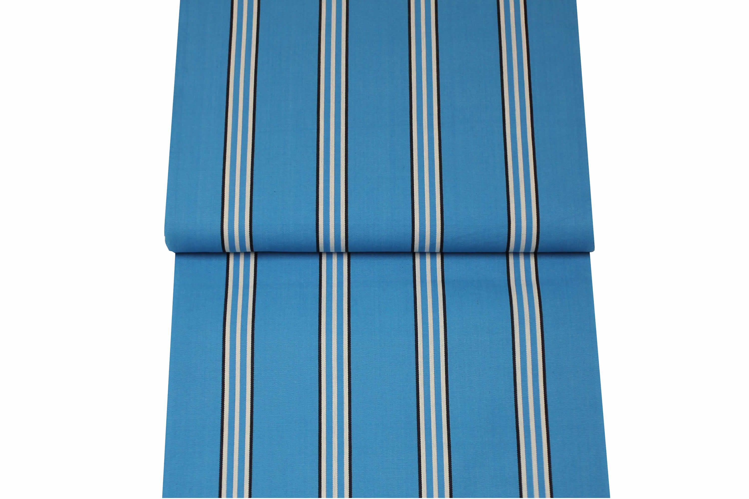 Turquoise Striped Deckchair Canvas Fabric - Thicker Weave turquoise, white, black