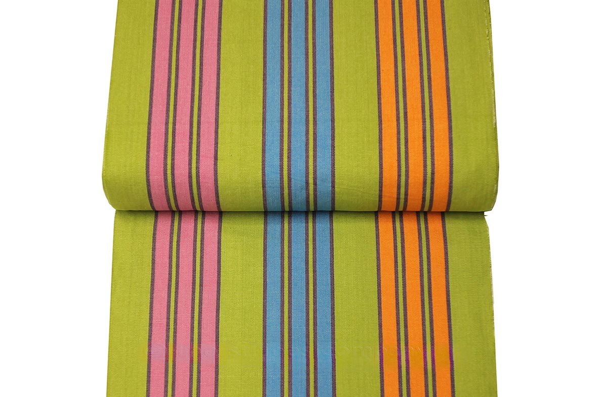 Pale Green Deckchair Canvas with Turquoise, Pink and Orange Stripes