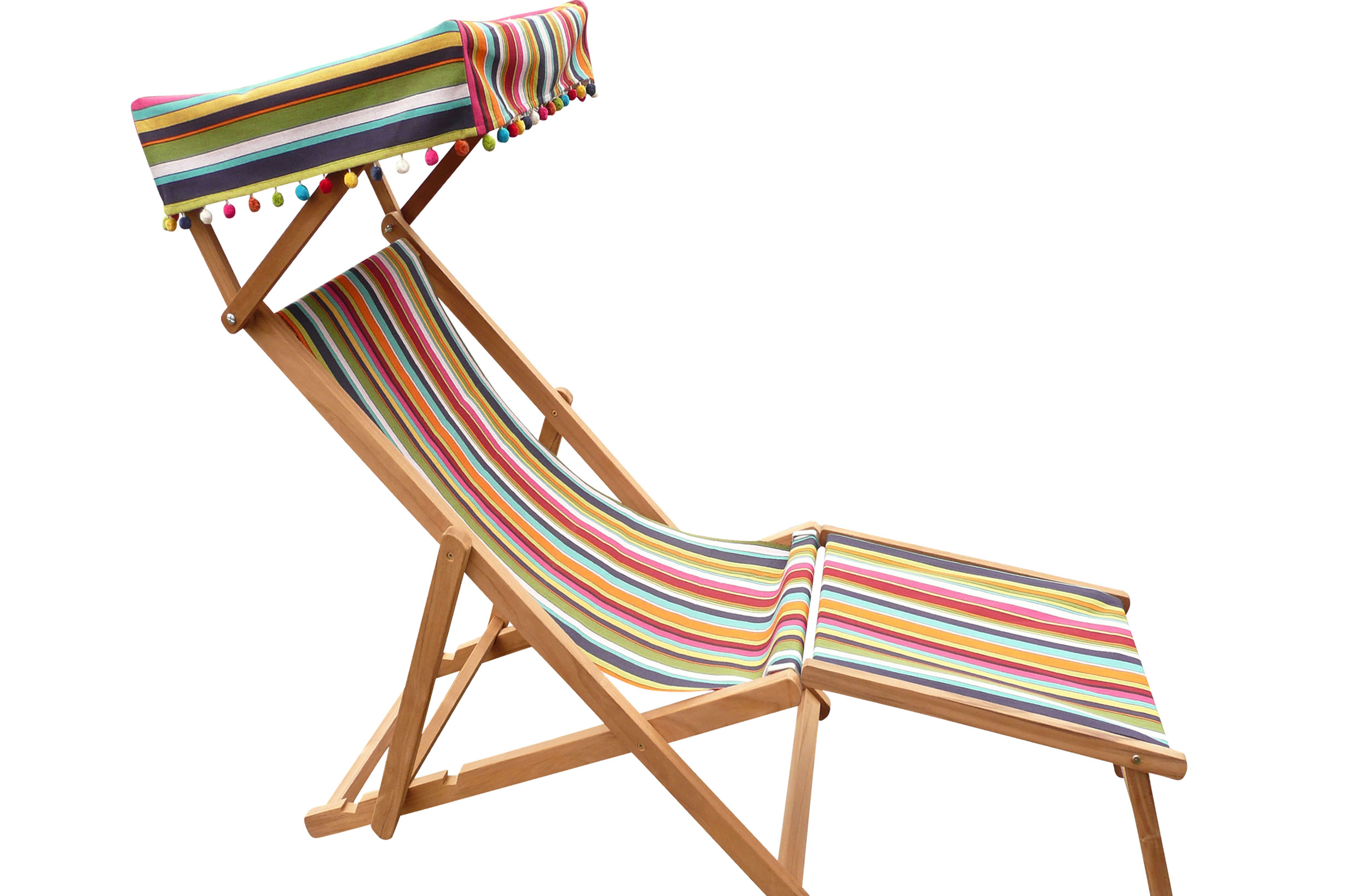 Charmant Edwardian Deckchair With Canopy And Footstool