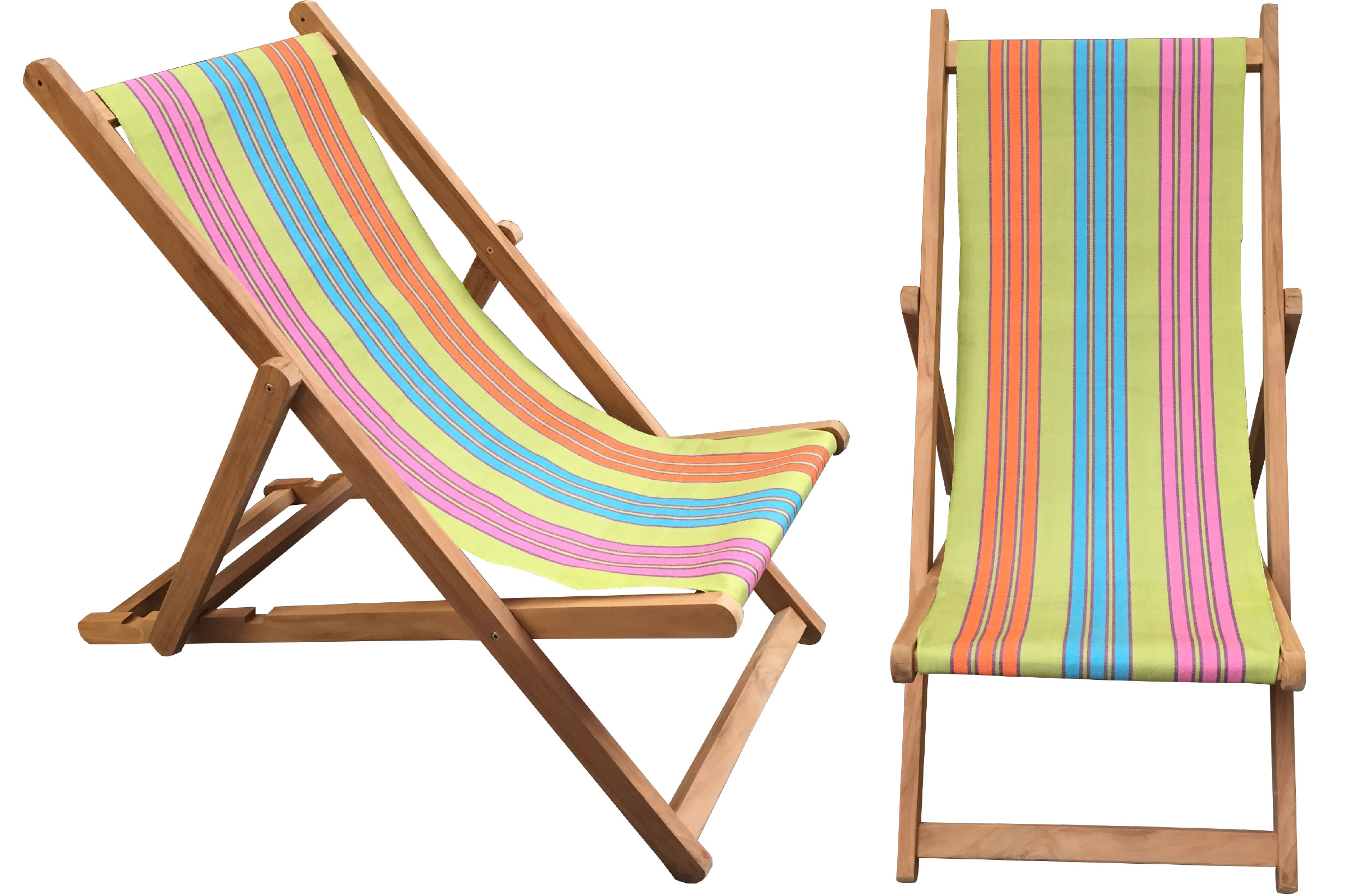 Deckchair with sling of green, turquoise, pink and orange stripes