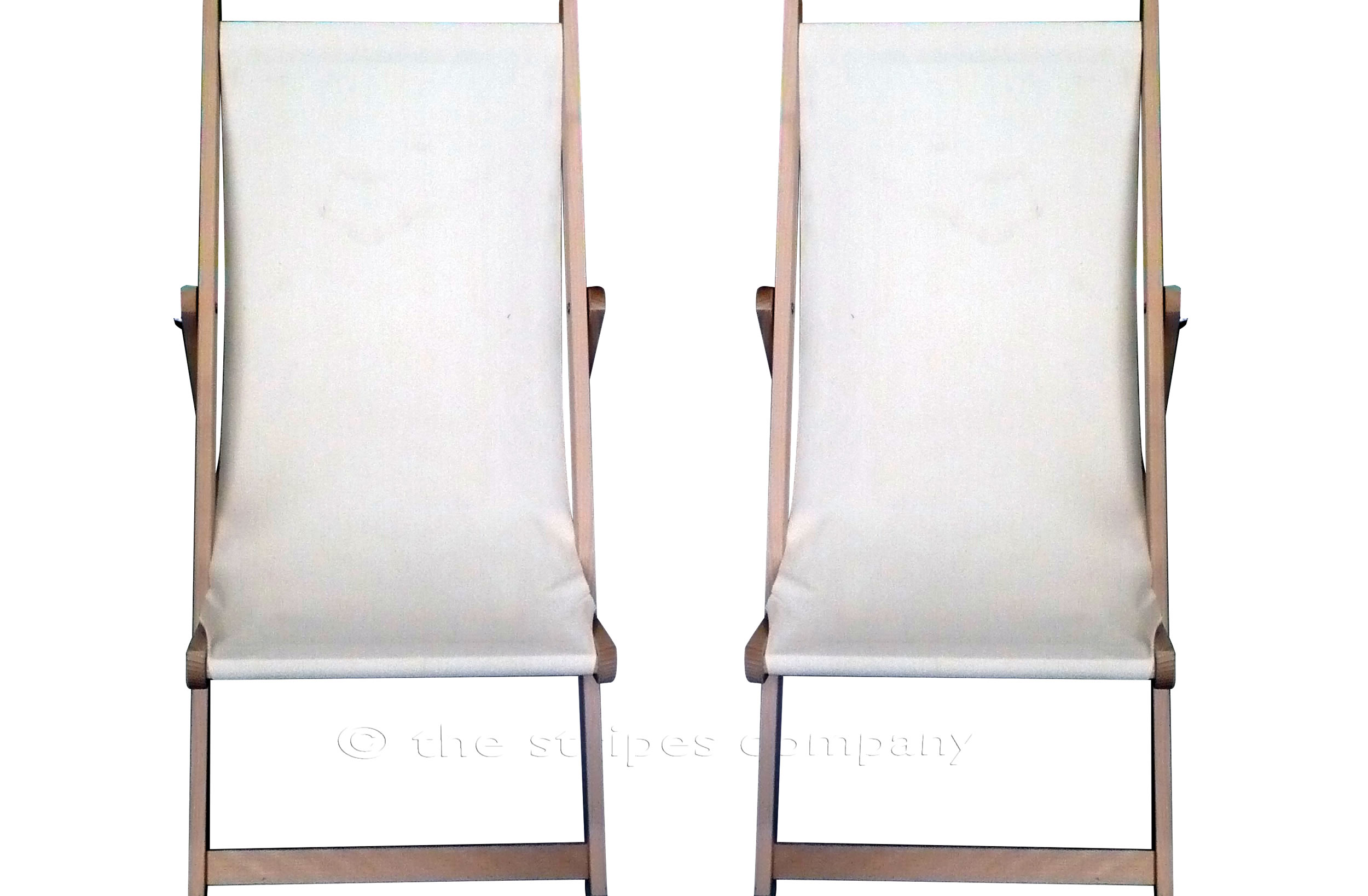 Natural  Deckchairs | Wooden Folding Deck Chairs with Natural Undyed Cream Fabric