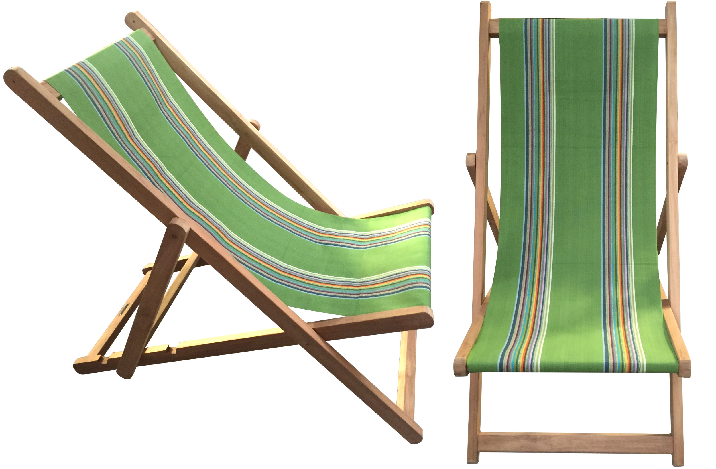 Green Deckchairs | Wooden Folding Deck Chairs - Punting Stripe