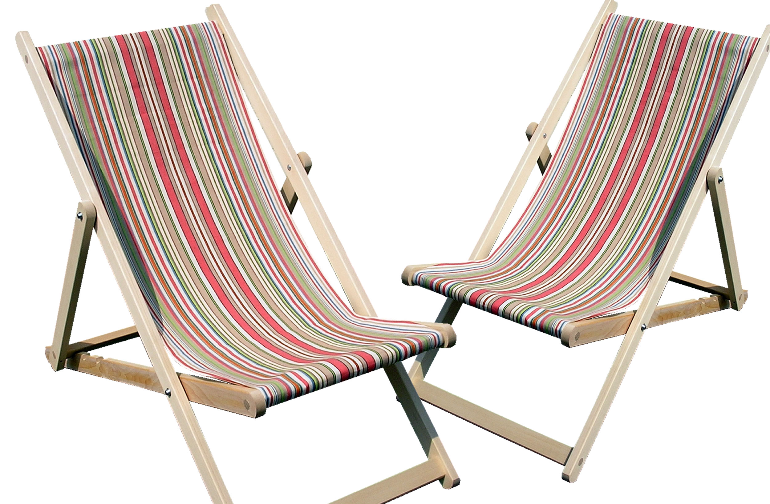 Coral Stripe Deckchairs | Wooden Folding Deck Chairs Vintage Slamball  Stripes