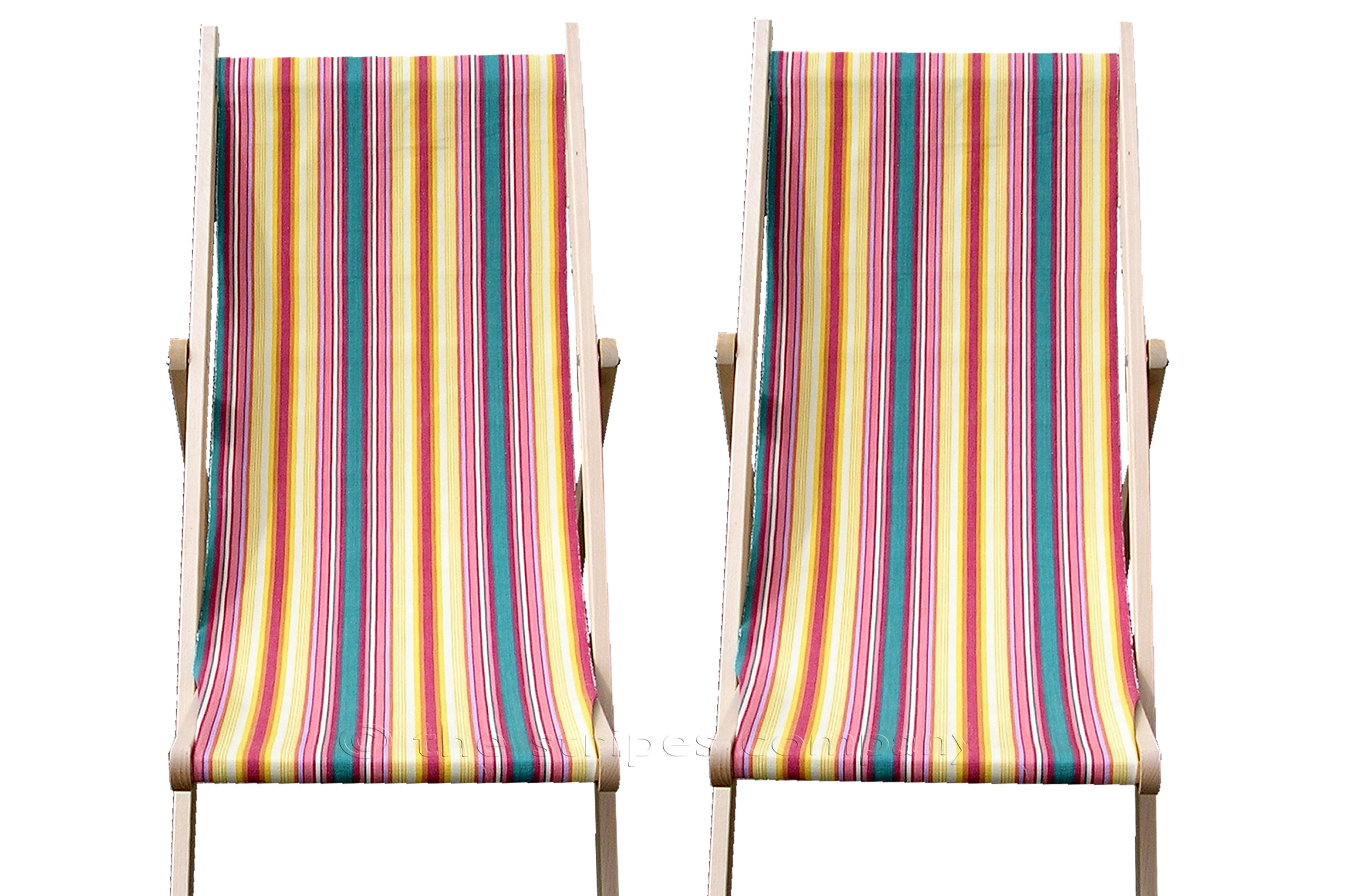 Yellow Deckchairs | Folding Wooden Deck Chairs Waltzing Stripes