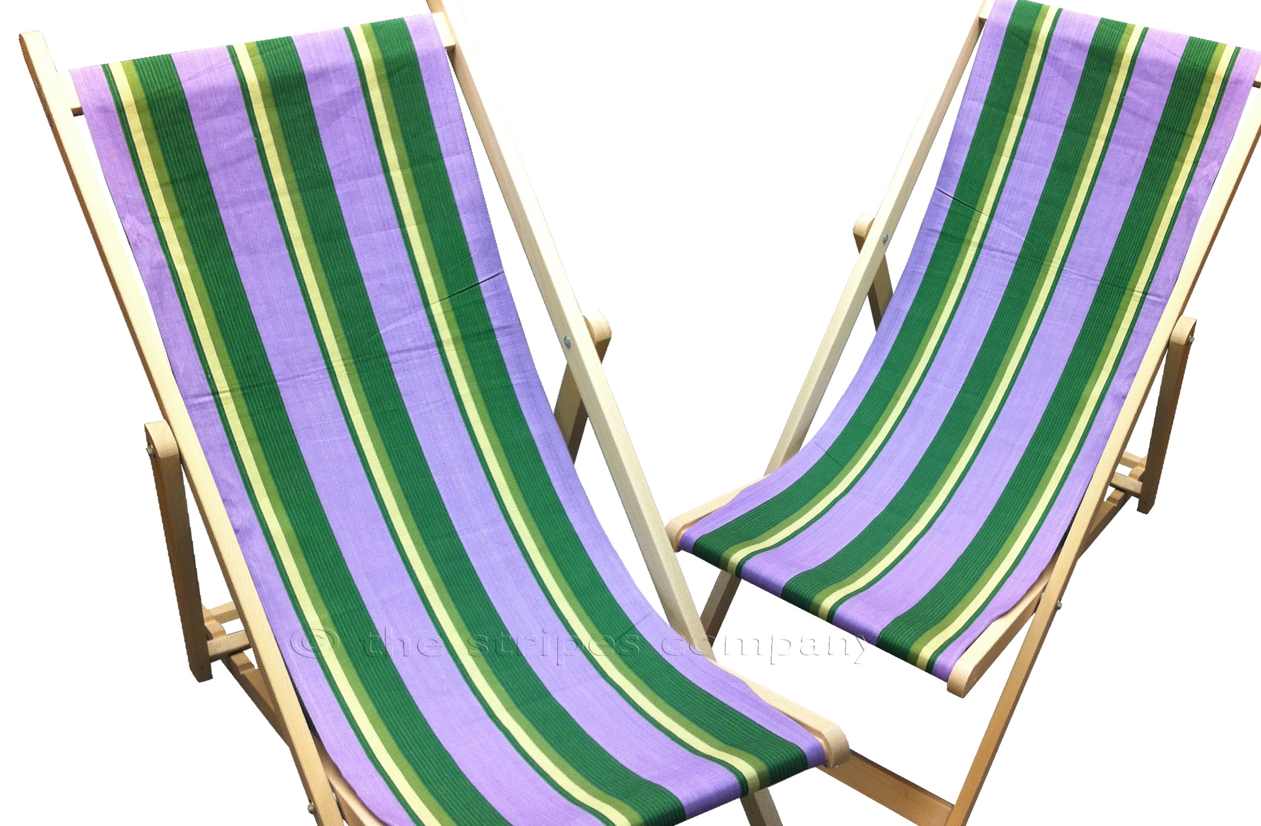 Lilac Deckchairs | Wooden Folding Deck Chairs - Hip Hop Stripes