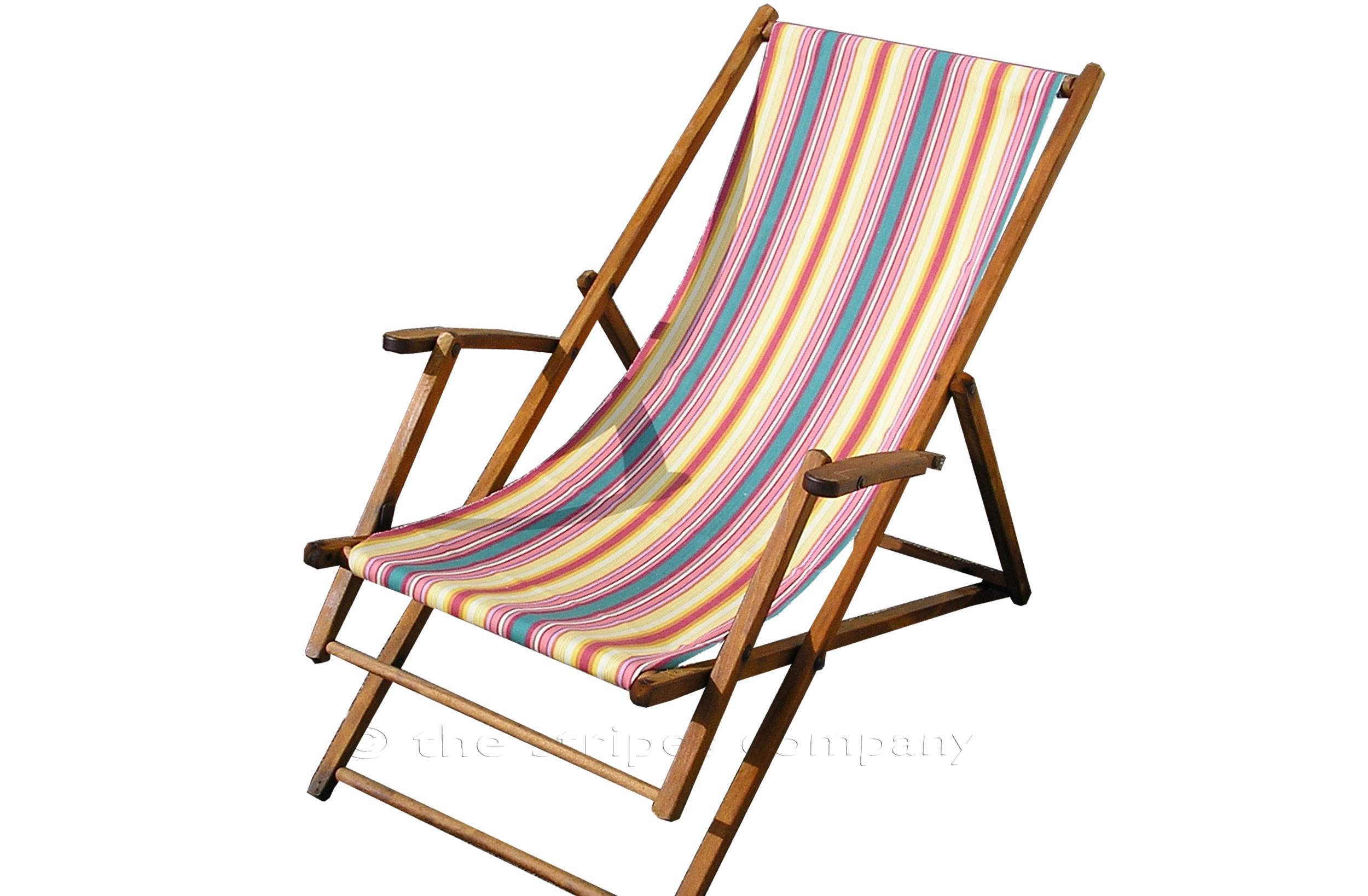 Vintage deckchair covered in vintage deckchair canvas