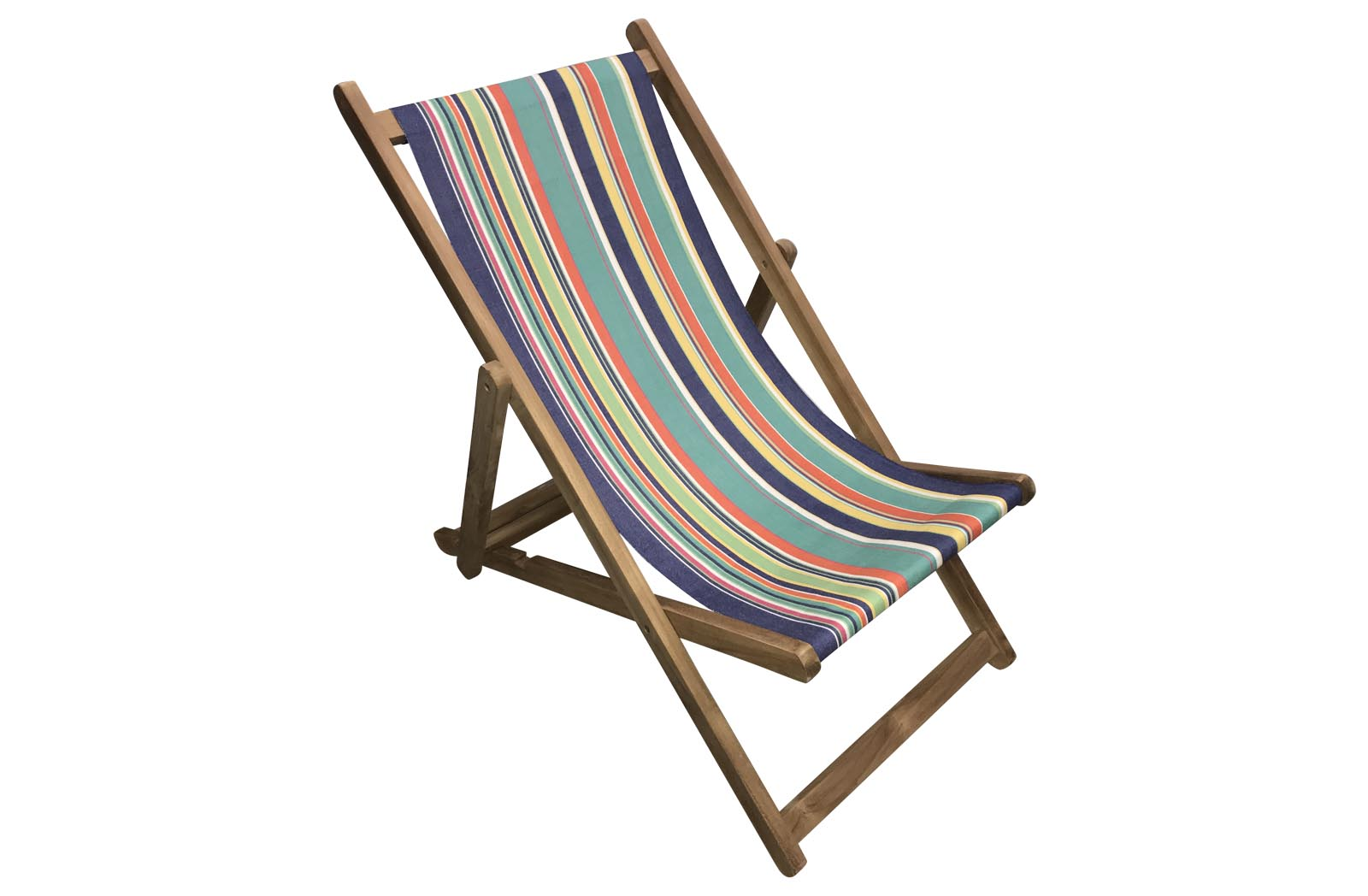 Royal Blue Stripe Deckchairs | Folding Wooden Deck Chairs Yachting Stripes