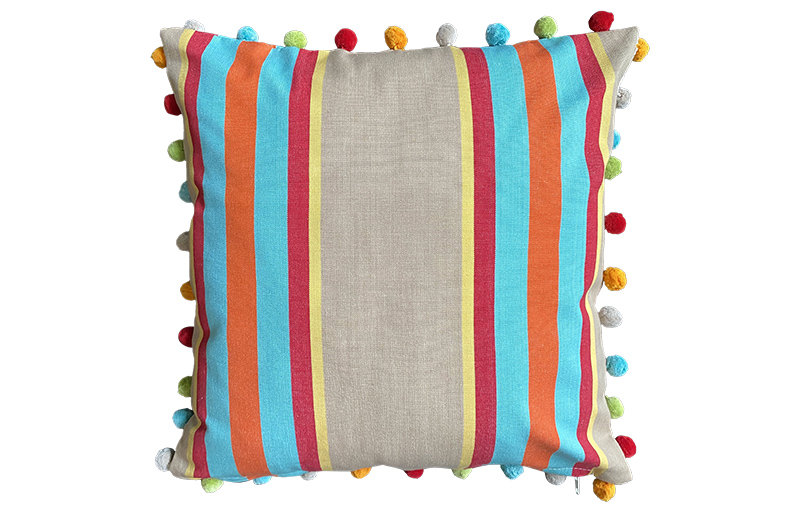 Fawn, Terracotta and Turquoise Striped Pompom Cushion 50x50cm