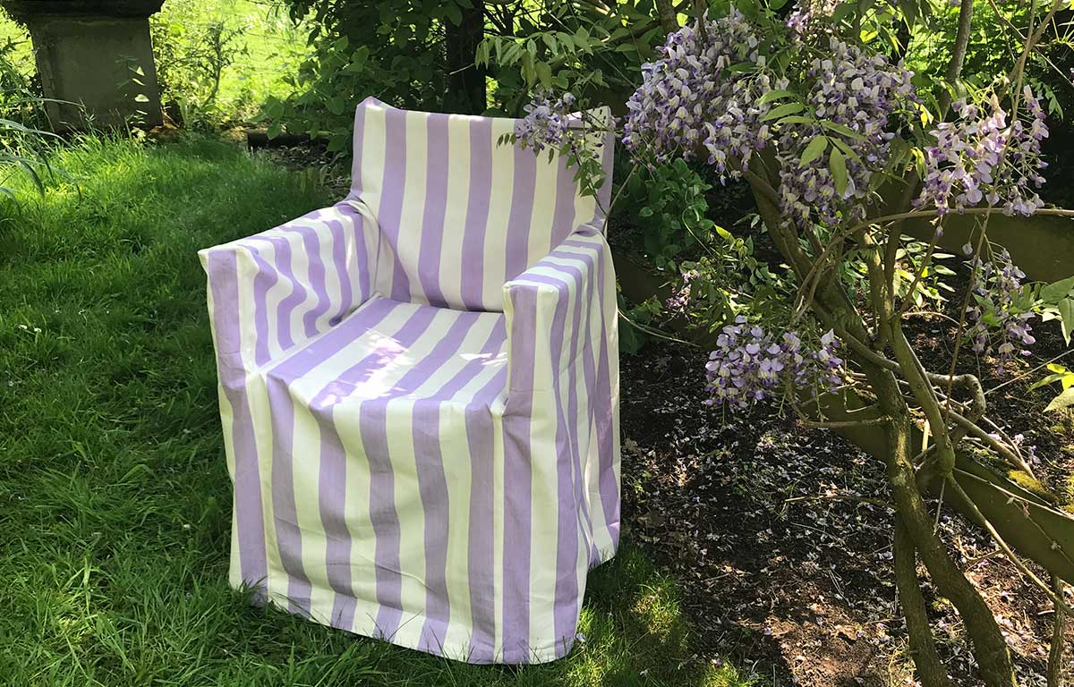 Lilac and White Stripe Directors Chair Loose Covers