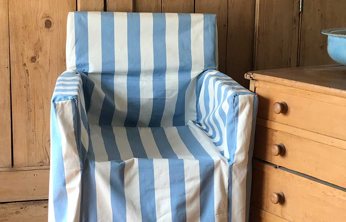 Bon Sky Blue And White Stripe Directors Chair Loose Covers