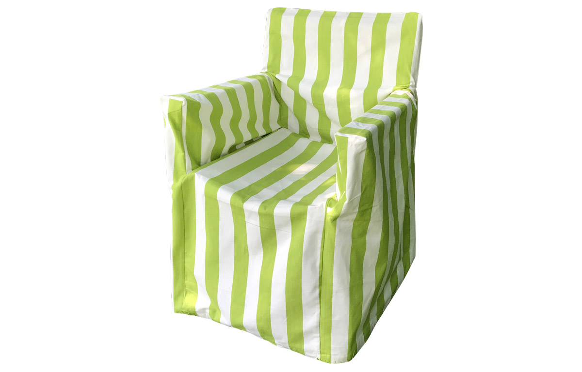 Lime Green and White Stripe Directors Chair Loose Covers