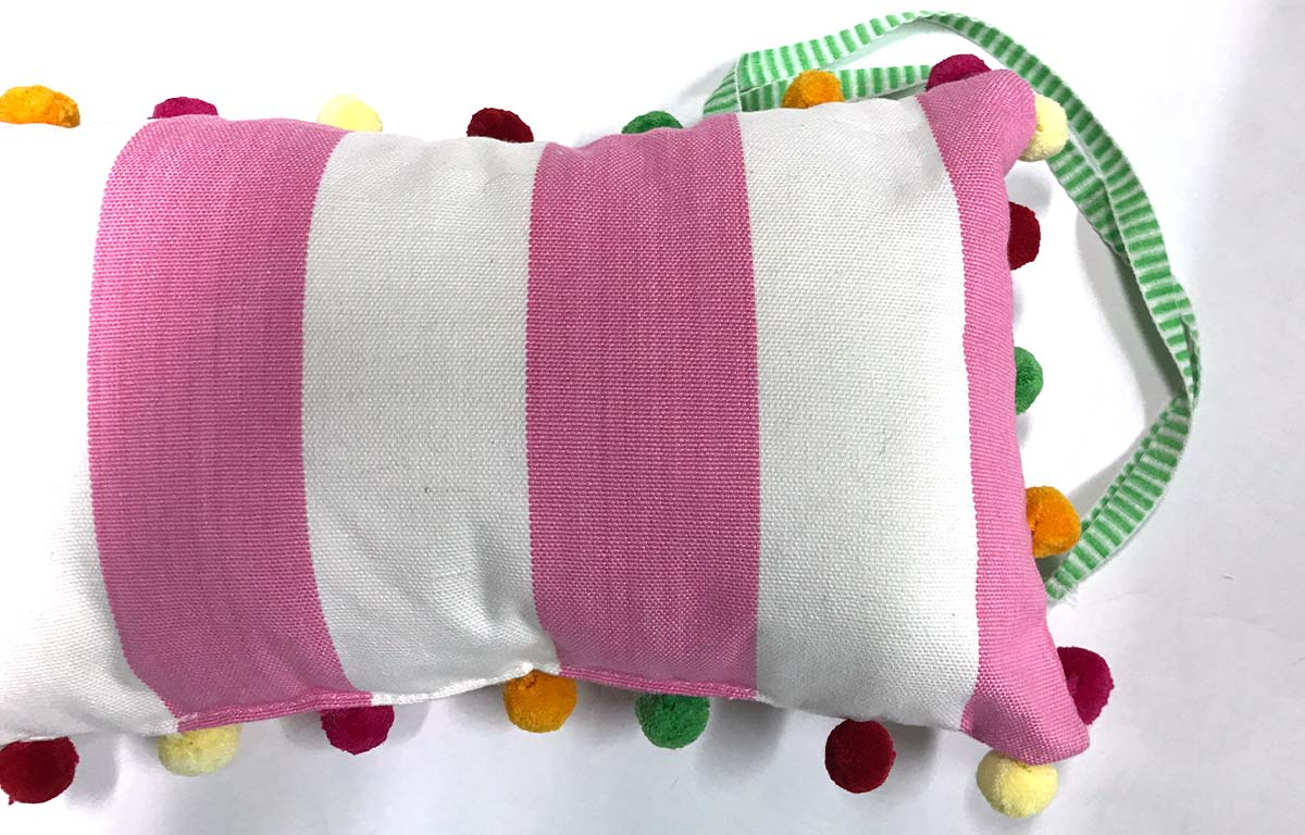Pink and White Stripe Deckchair Headrest Cushions | Tie on Pompom Headrest Pillow pink
