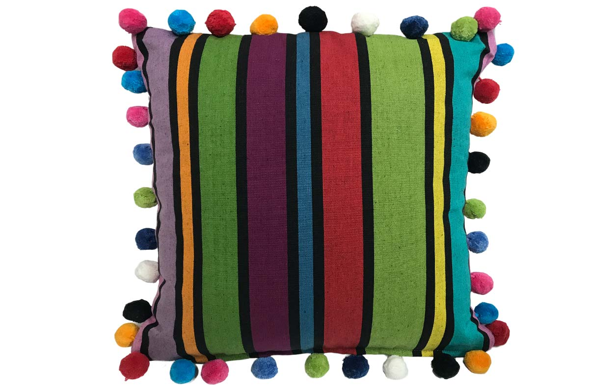Black Striped Pompom Cushion 50x50cm with bold striped design