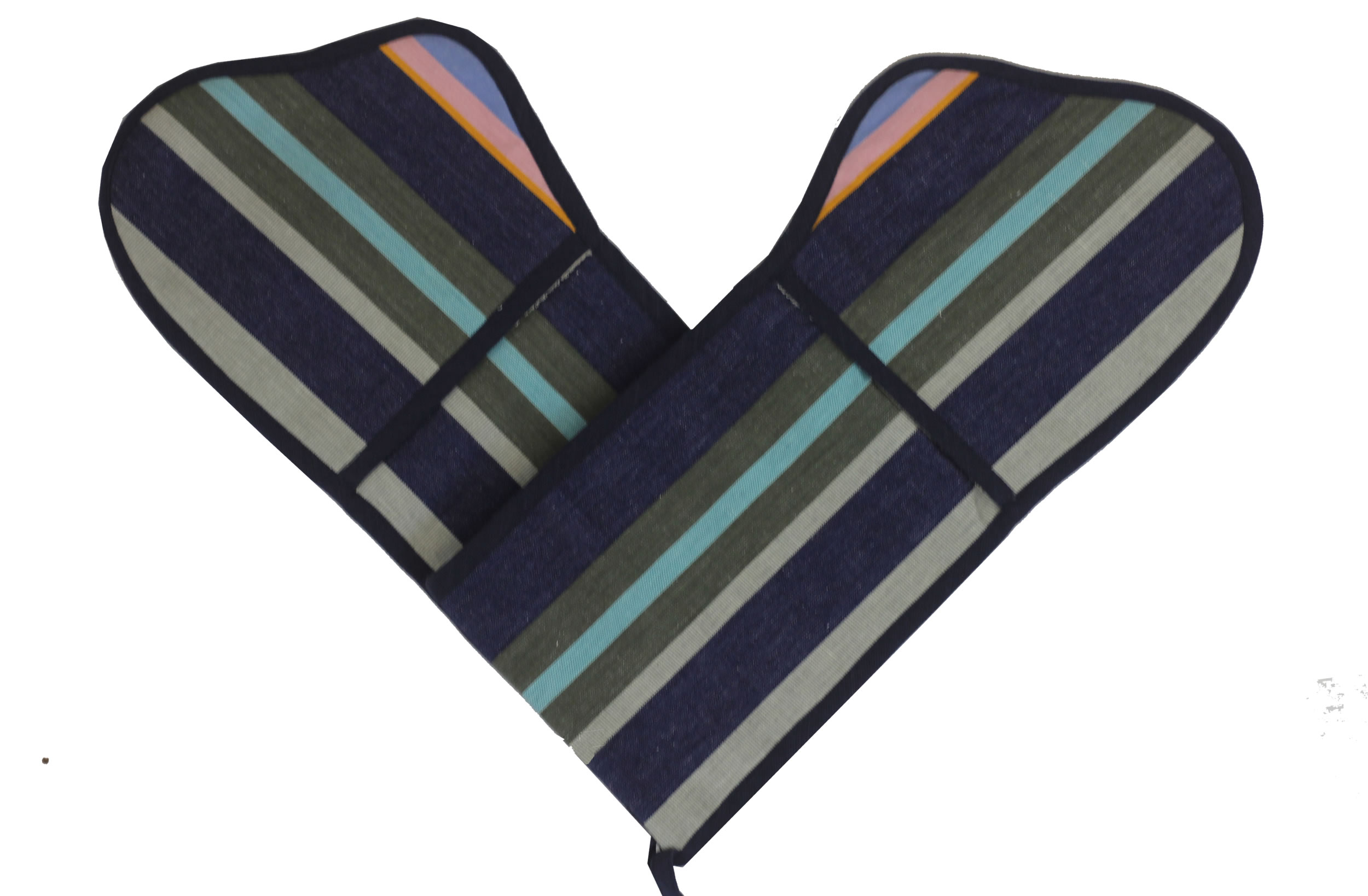 Navy Blue Striped Double Oven Gloves | Double Oven Mitts Kiting Stripes