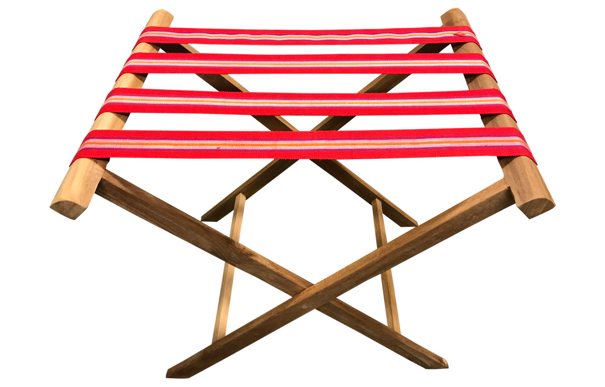 Folding Luggage Rack with Red Striped Webbing Straps