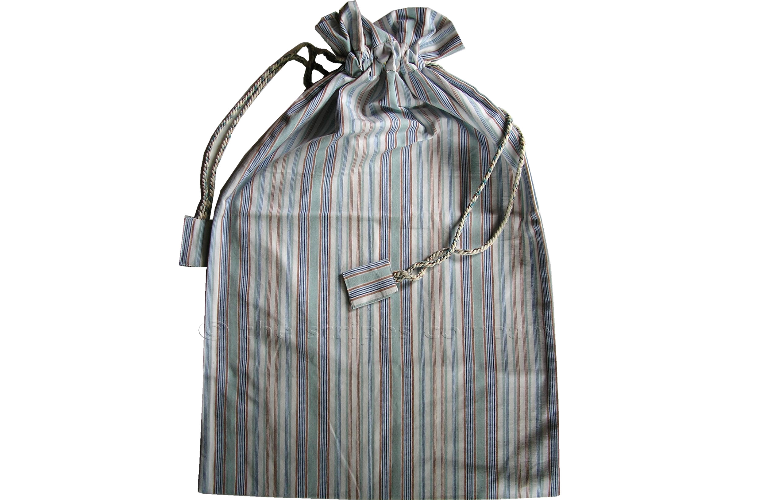 Blue Drawstring Laundry Bags - Laundry Room Stripe