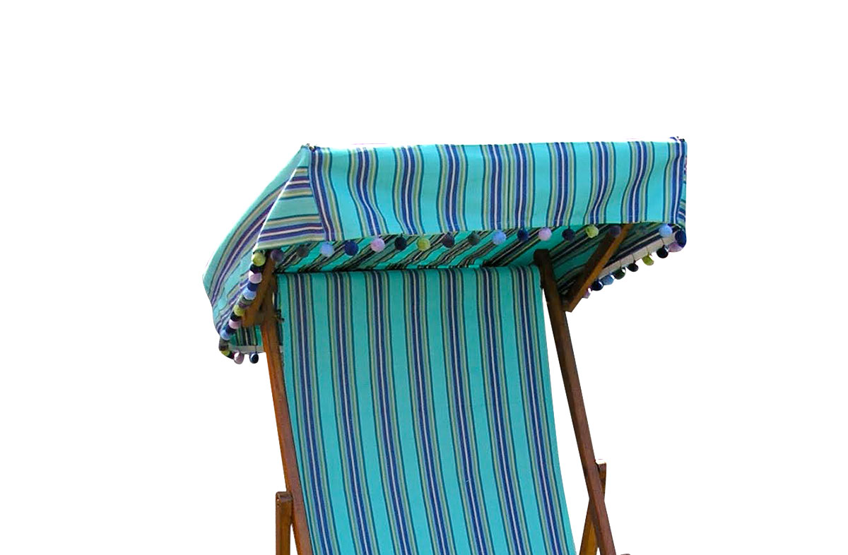 Edwardian Deckchairs with Canopy and Footstool turquoise, blue, green