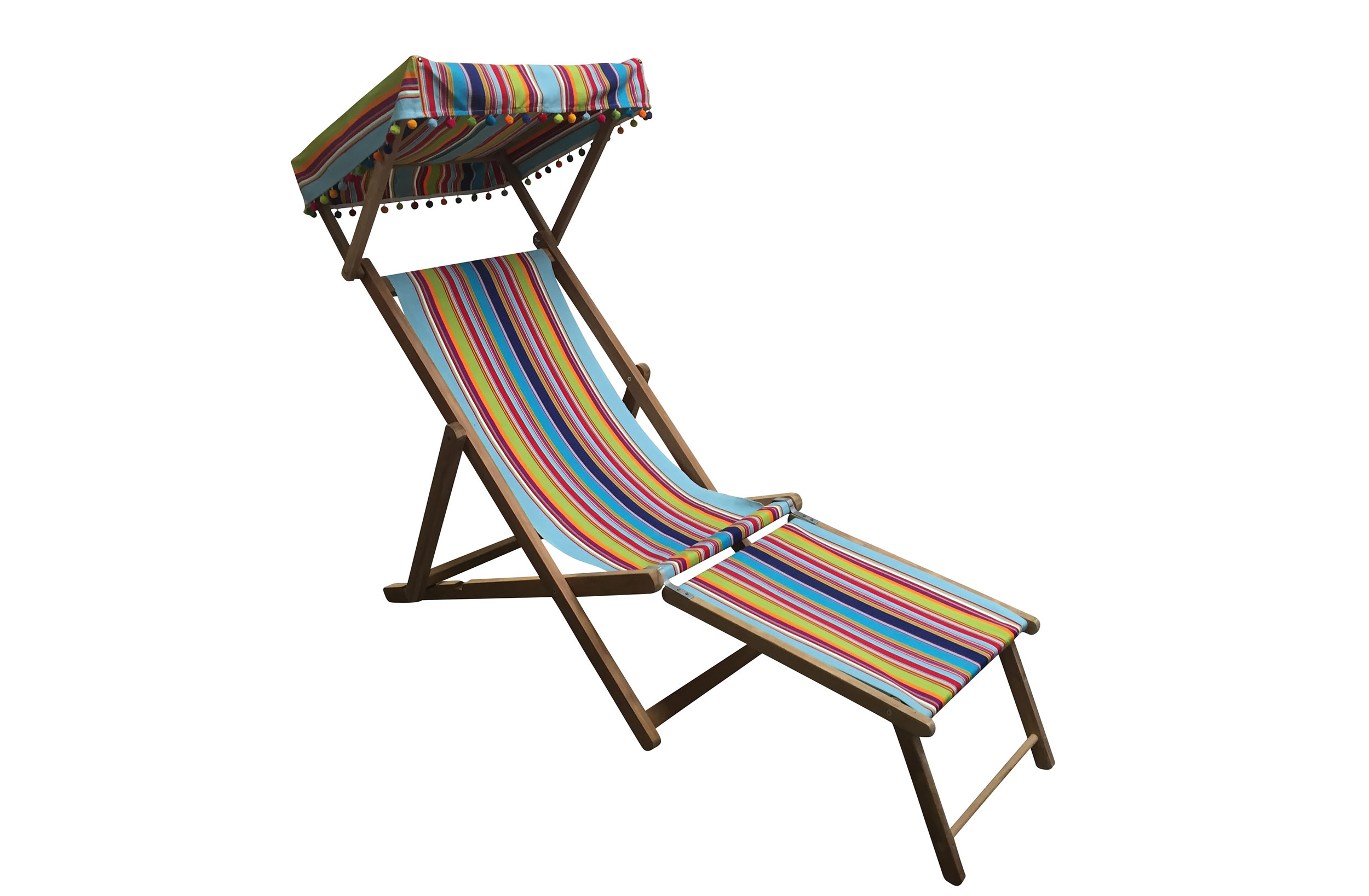 Flamenco Edwardian Deckchairs with Canopy and Footstool