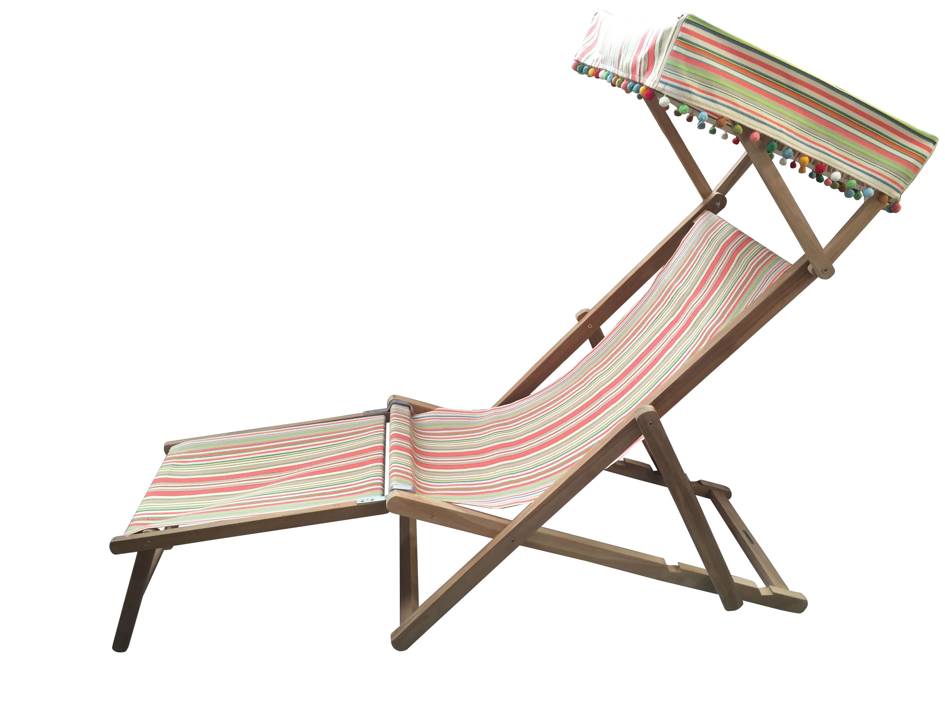 Canopied Edwardian Teak Deckchair with Canopy and Footstool coral, sand, cream