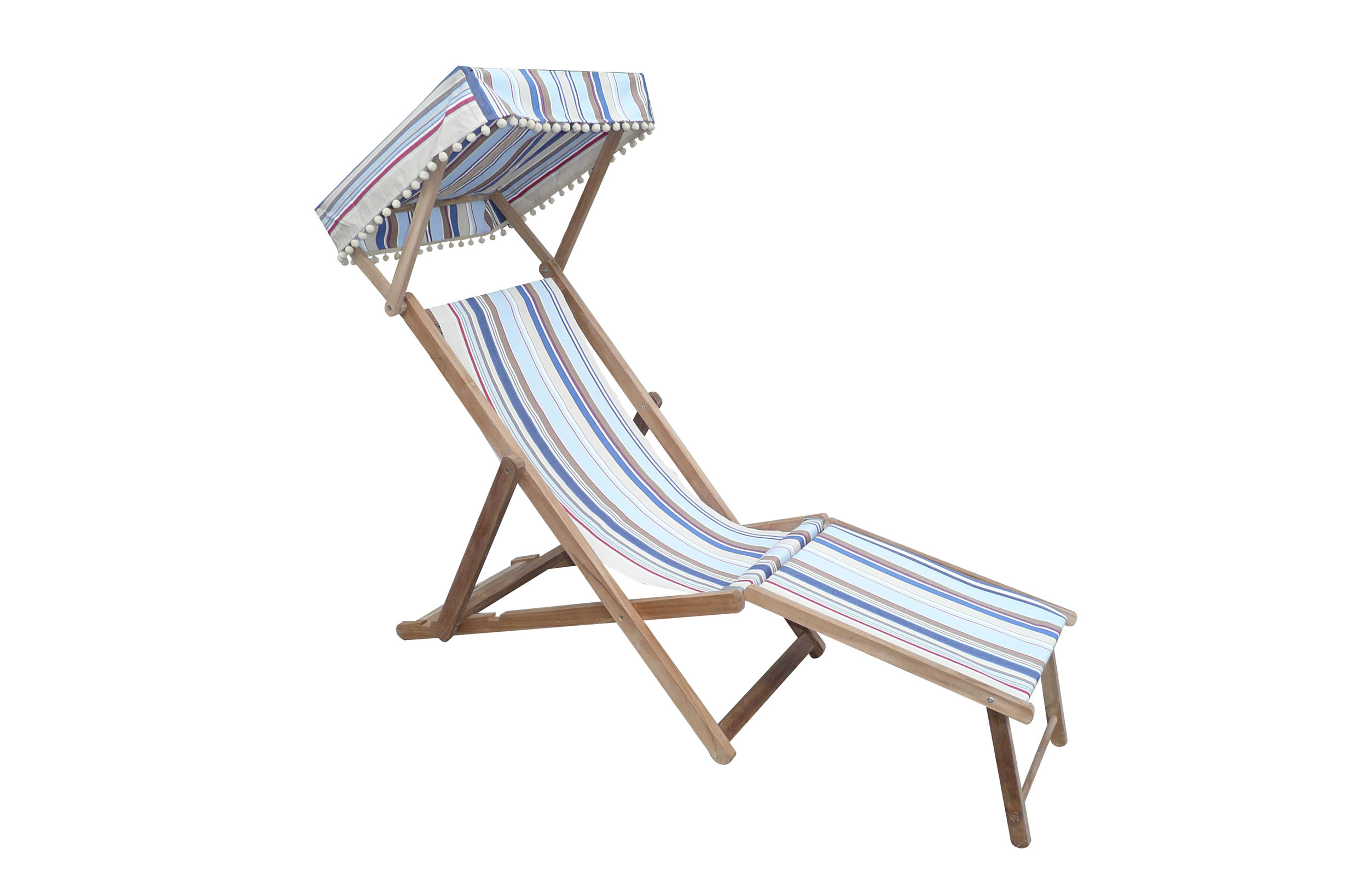 Trapeze Edwardian Deckchair with Canopy and Footstool