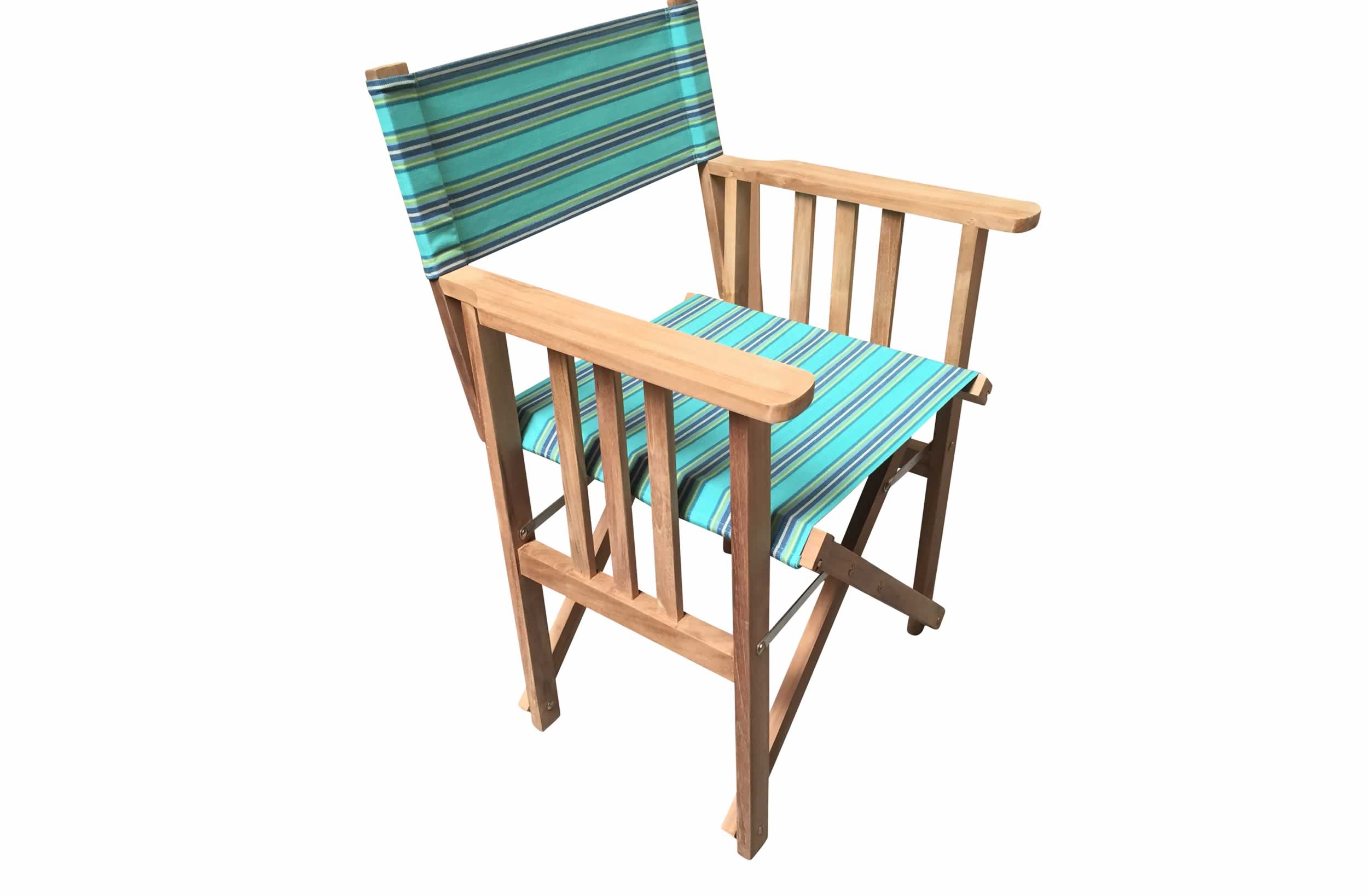 Teak Directors Chair - Fencing Stripe