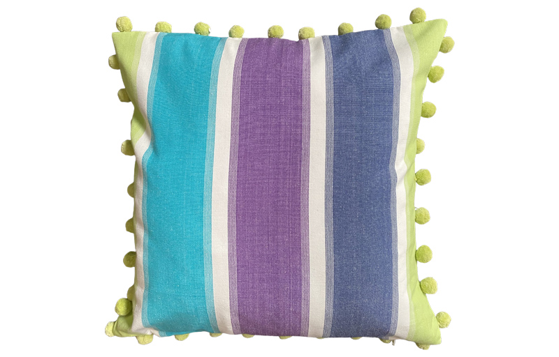 Lime Green, Turquoise and White Stripe Pompom Cushion 40x40cm
