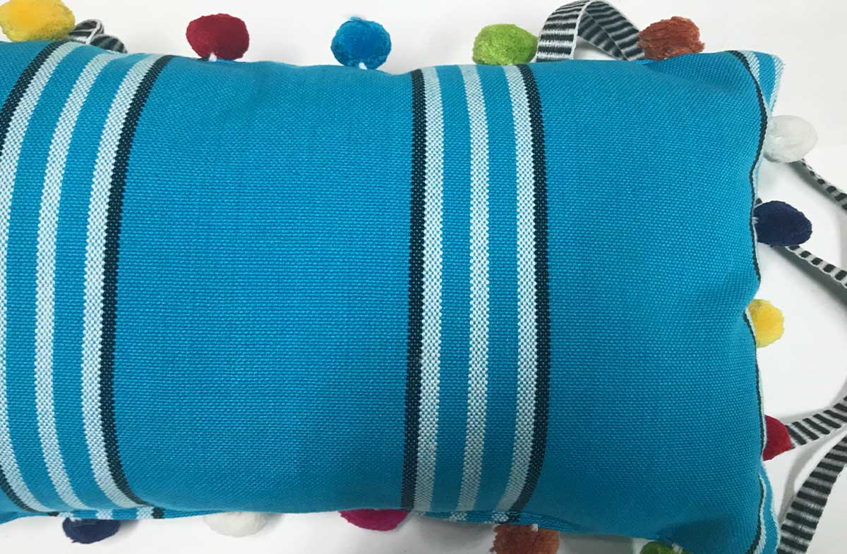 Fives Deckchair Headrest Cushions | Tie on Pompom Headrest Pillow turquoise, white, black