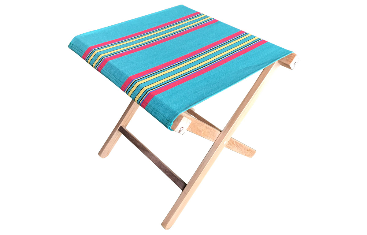 Portable Folding Stool with Jade Green, Red and Yellow Striped Seat